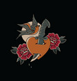 bird dagger love roses with traditional old school vector image