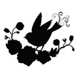 black silhouette songbird and flower composition vector image vector image