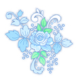 Blue rose decorated small bouquet vector image vector image