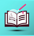 book icon with magnifying glass on blue vector image vector image