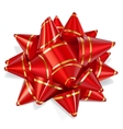Bow of red ribbon with gold stripes vector image