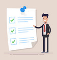 businessman with checklist on clipboard document vector image