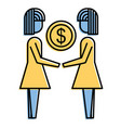 businesswomen holding money coin dollar finance vector image