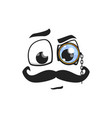 cartoon face with mustaches and monocle on eye vector image
