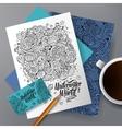 Cartoon hand-drawn underwater life identity vector image vector image