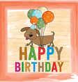 childish birthday card with funny dog vector image vector image