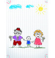 children colorful pencil drawings of grandpa vector image vector image