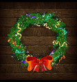 christmas wreath template 2019 vector image vector image