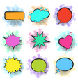 color retro comic speech bubbles with stripes vector image vector image