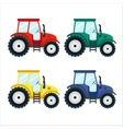 Colorful tractors on white background flat style vector image vector image