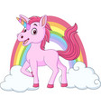 cute baunicorn with clouds and rainbow vector image vector image