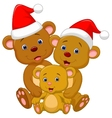 Cute bear family cartoon wearing red hat vector image vector image