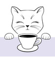 cute cate face with paws and cup coffee black vector image vector image