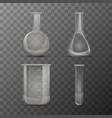 different transparent vials and flasks for vector image