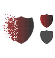disappearing dotted halftone shield icon vector image vector image