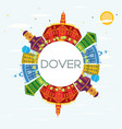 dover delaware city skyline with color buildings vector image vector image