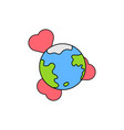 globe with heart icon symbol love and peace vector image