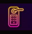 glowing neon line digital door lock with wireless vector image vector image