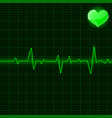green electrocardiogram with heart symbol vector image vector image