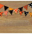 Halloween Bunting Flags With Wood Background vector image