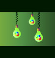 hanging on cords three light bulbs on a green vector image vector image
