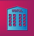 Hotel sign blue 3d printed icon on vector image