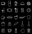 Kitchen line icons on black background vector image vector image