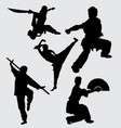 kung fu martial art sport silhouette vector image vector image