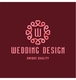 Letter W Wedding Design sign in the form of an vector image vector image
