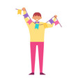 man celebrate birthday party hold decorative flags vector image