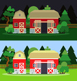 Morning and night landscape with barn and trees vector image vector image