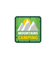 moutains camping logo flat style vector image vector image