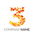 number three with orange yellow red particles vector image vector image