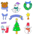 Object christmas set of doodle vector image vector image