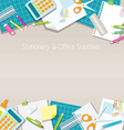 Office Supplies and Stationery Paper Background vector image vector image