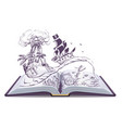 open book about pirates and treasure ship vector image