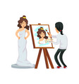 painter drawing portrait of woman vector image