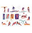 people at beach cartoon characters doing summer vector image