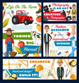 photographer engineer farmer and tailor vector image vector image