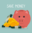 piggy with coins and bills dollars money vector image