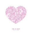 pink flowers lineart heart silhouette pattern vector image vector image