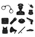 police department black icons in set collection vector image
