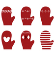Red winter retro Gloves set isolated on white vector image vector image