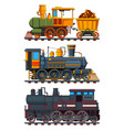 retro trains with wagons vector image
