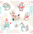 Seamless pattern with cute penguinsnowman fox