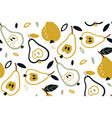 seamless pattern with pears isolated on vector image