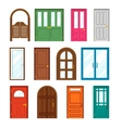 Set of front buildings doors in flat design style vector image
