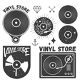 set of vinyl disc and player Music records vector image