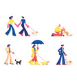set people spending time with pets outdoors male vector image vector image