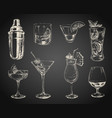 set sketch cocktails and alcohol drinks black vector image